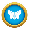 origami butterfly icon blue isolated vector image