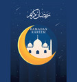 ramadan kareem with night sky background vector image