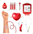 realistic blood donor set vector image vector image