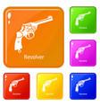 revolver icons set color vector image vector image