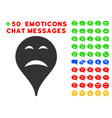 sadness smiley map marker icon with bonus facial vector image vector image