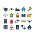 security protect and technology icons vector image