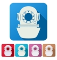 Set Flat icons of Underwater diving helmet vector image