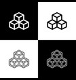 set isometric cube icons isolated on black and vector image