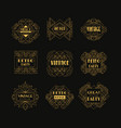 set of art deco badges decorative golden frames vector image vector image
