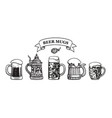 set traditional beer mugs vector image vector image