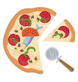 sliced pepperoni pizzaprint vector image vector image
