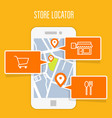 store locator tracker app and mobile gps navigatio vector image vector image