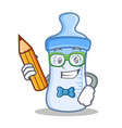 student with pencil baby bottle character cartoon vector image