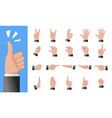 various gestures of human hands isolated on a vector image vector image
