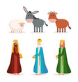 wise kings and animals manger characters vector image vector image