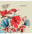 Flowers and bird greeting card prosperity vector image