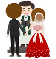 wedding scene with bride and groom vector image