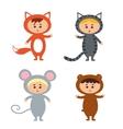 kids wearing animal costum vector image