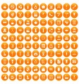 100 beauty salon icons set orange vector image vector image