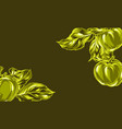 background with apples and leaves vector image vector image