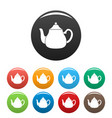 big kettle icons set color vector image vector image
