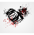 Black grunge heart with thorns vector image vector image
