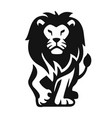 black lion walking right on white background vector image vector image