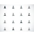 black traffic cone icons set vector image vector image