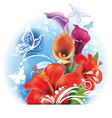 bouquet red hibiscus and calla flowers vector image vector image