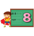 boy on number eight worksheet vector image vector image
