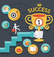Business Concept Stairway to Success Trophy vector image