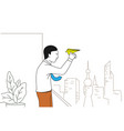 businessman throwing paper airplane vector image