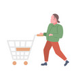 casual man pushing empty trolley cart guy customer vector image
