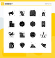 collection 16 universal solid icons icon set vector image vector image