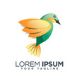 colorful flying bird leaf logo design template vector image vector image