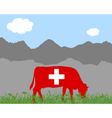 Cow alp and swiss flag vector image