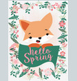 cute fox hello summer in flower frame vector image vector image
