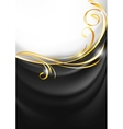 Dark gray fabric curtain gold vignette vector | Price: 1 Credit (USD $1)