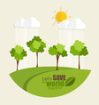 ECO FRIENDLY Ecology concept with tree background vector image vector image