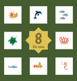 flat icon nature set of algae playful fish vector image vector image