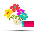 Flowers in Hand Isolated on White vector image