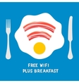 Free wifi area sign on a plate with fried egg vector image vector image