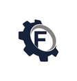 gear logo letter f vector image vector image