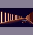 glowing golden neon lights line floor background vector image vector image