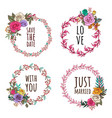 hand drawing rose wreath and floral elements vector image