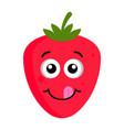 happy strawberry emoticon vector image vector image