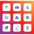 job icons colored set with contract circle graph vector image vector image