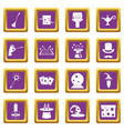 magic icons set purple vector image vector image