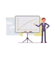 Man drew a positive graph on the whiteboard vector image