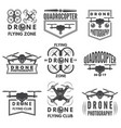 monochrome labels with different quadrocopters vector image
