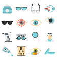 ophthalmologist tools set flat icons vector image vector image