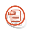 PDF document sign sticker orange vector image vector image