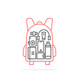 personal items inside thin line backpack vector image vector image
