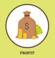profit promo logotype with bag of money and coins vector image vector image